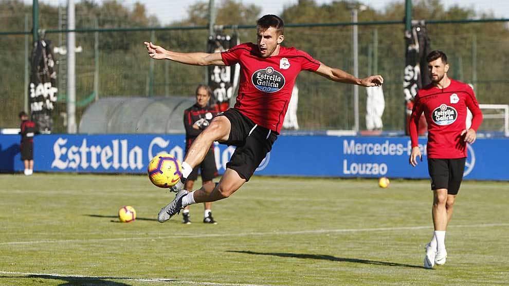 Gerard Valentín, en un entrenamiento de la pasada temporada del...