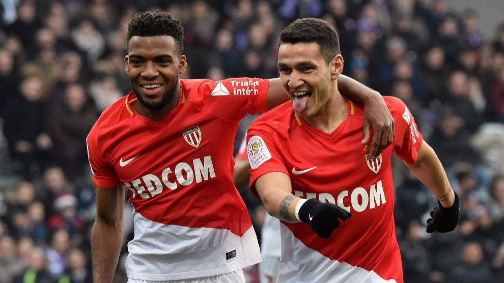 Rony Lopes, on the right, celebrating a goal for Monaco with former...