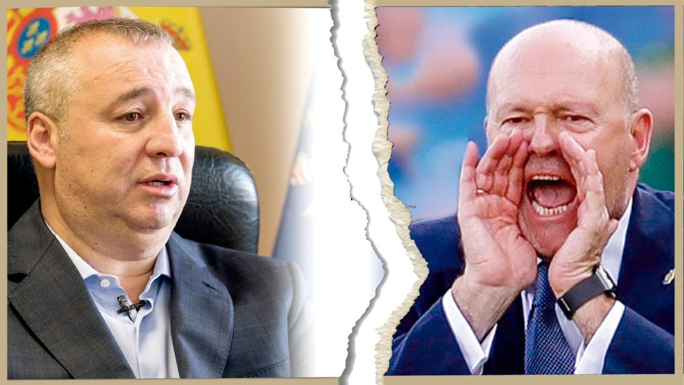 El presidente Miguel Ángel Ramírez y el técnico Pepe Mel