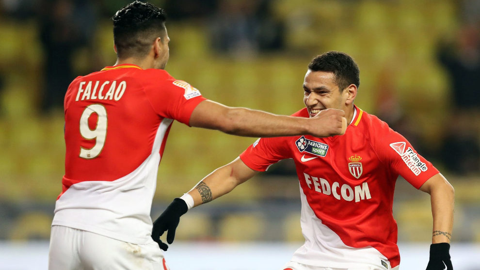 Rony Lopes celebrates a goal for Monaco with Radamel Falcao.