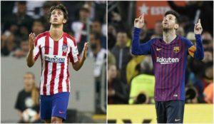 Joao Félix y Messi durante un partido