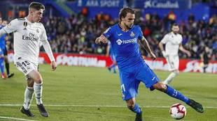 Ignasi Miquel ante Valverde en el Getafe-Real Madrid de la pasada...