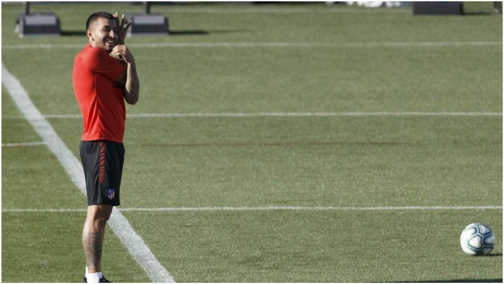 Correa durante un entrenamiento