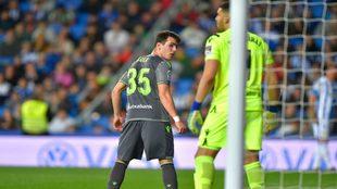 Sola, el día de su debut en Primera, contra el Leganés en Anoeta.
