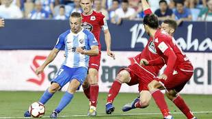Ontiveros, durante el partido de 'playoffs' entre Málaga y...