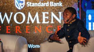 Semenya, durante una conferencia en Johannesburg