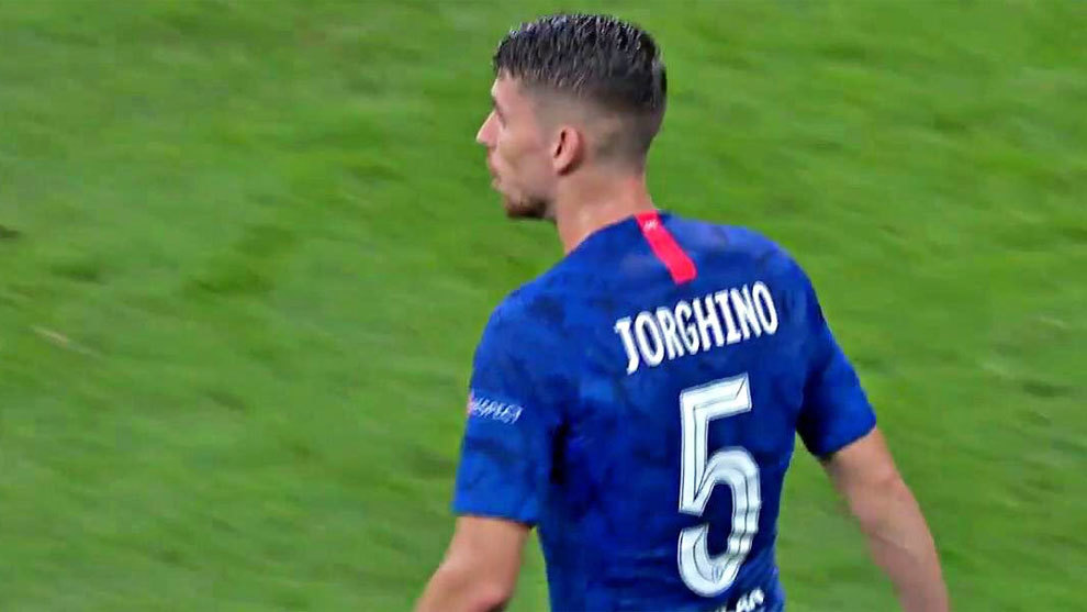 sports shoes 52d3d 1f3ce Jorginho's name is misspelt on his shirt during the UEFA ...