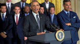 Barack Obama durante una recepción a los campeones de la NCAA en 2016