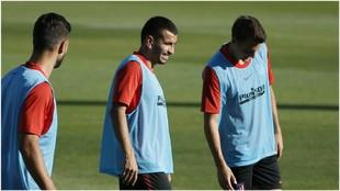 Correa durante el entrenamiento de esta tarde