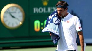 Roger Federer en un momento del partido frente a Rublev.