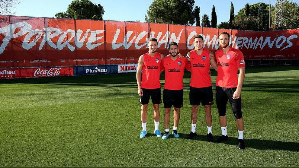 Presentación de los nuevos capitanes del Atlético de Madrid.