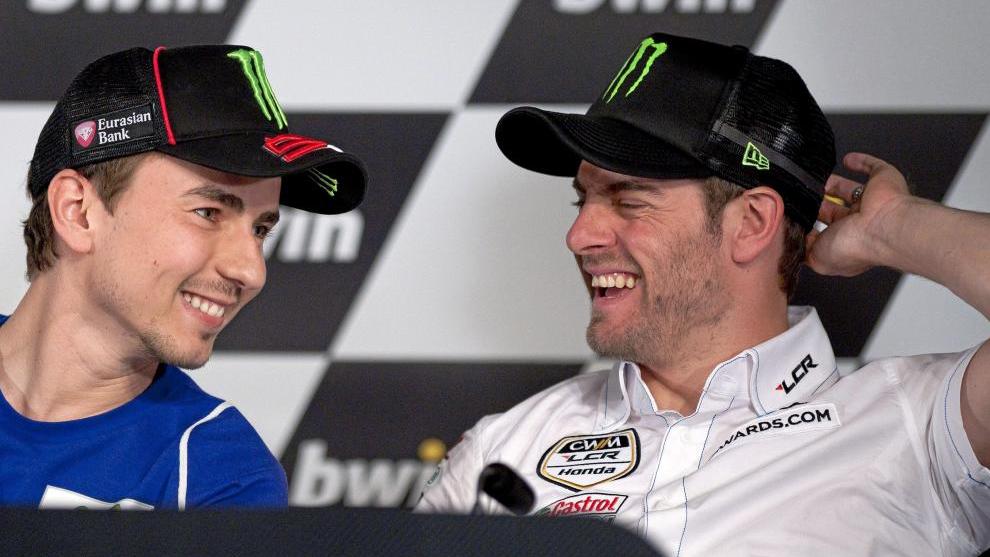 Jorge Lorenzo y Carl Crutchlow, durante su etapa en Yamaha.
