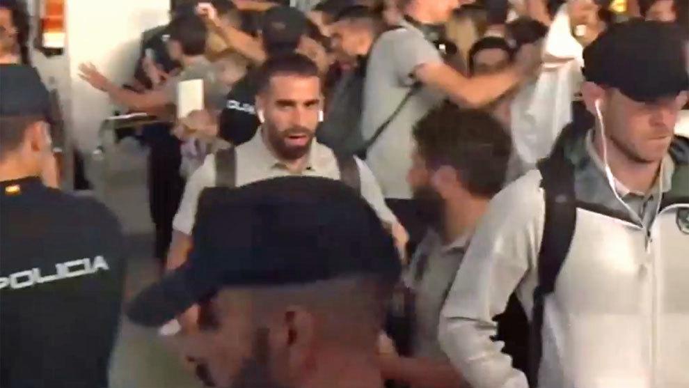 Dani Carvajal after arriving in Vigo.
