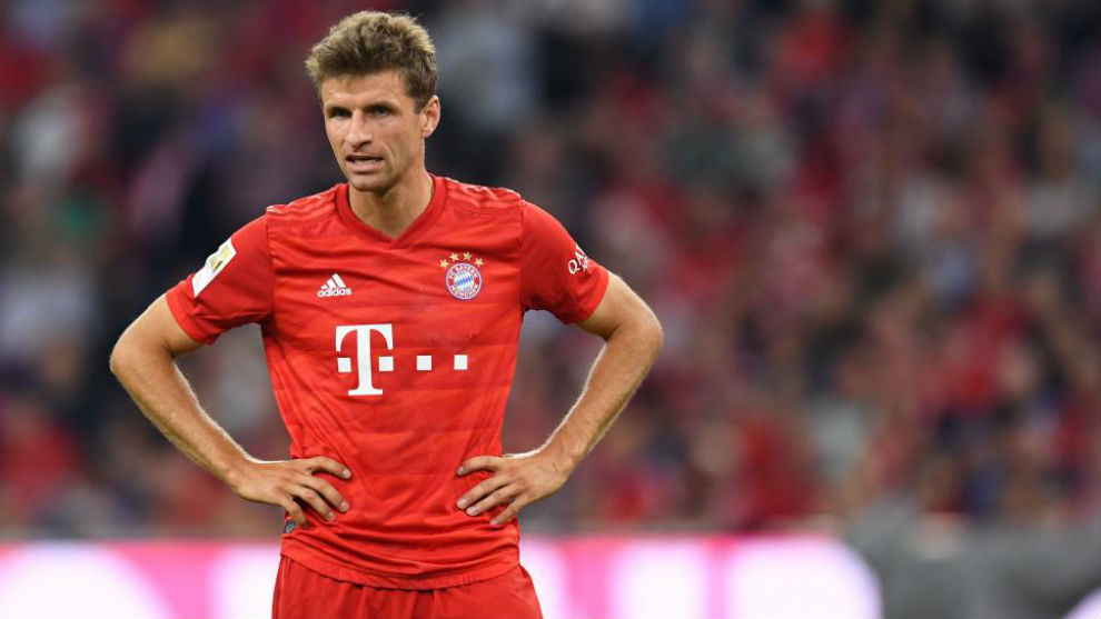 Thomas Muller looking frustrated.