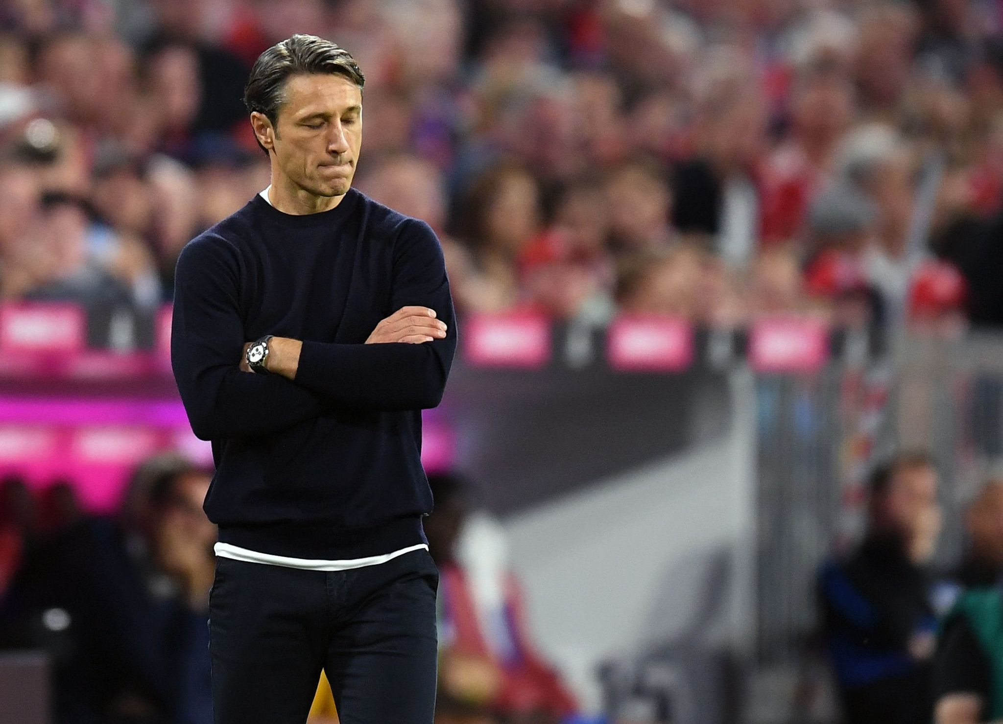 <HIT>Bayern</HIT> Munichs Croatian headcoach Niko Kovac reacts during the German First division Bundesliga football match FC <HIT>Bayern</HIT> Munich v Hertha Berlin in Munich, southern Germany, on August 16, 2019. (Photo by Christof STACHE / AFP) / DFL REGULATIONS PROHIBIT ANY USE OF PHOTOGRAPHS AS IMAGE SEQUENCES AND/OR QUASI-VIDEO