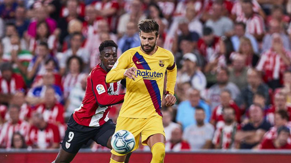 Gerard Pique during the match against Athletic Club.