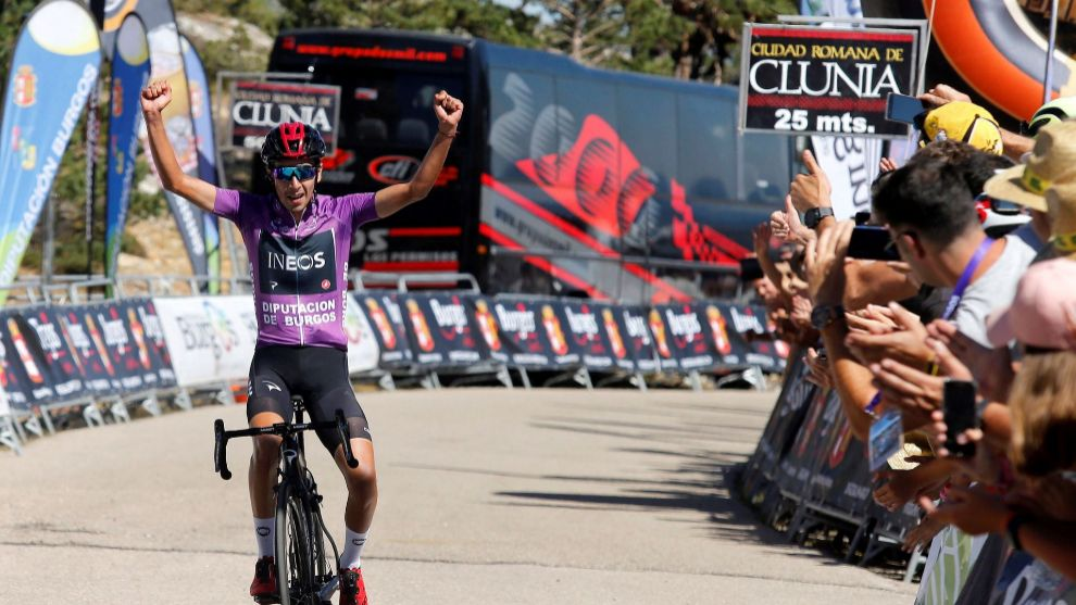 Iván Sosa celebra la victoria en Neila y su segunda Vuelta a Burgos.