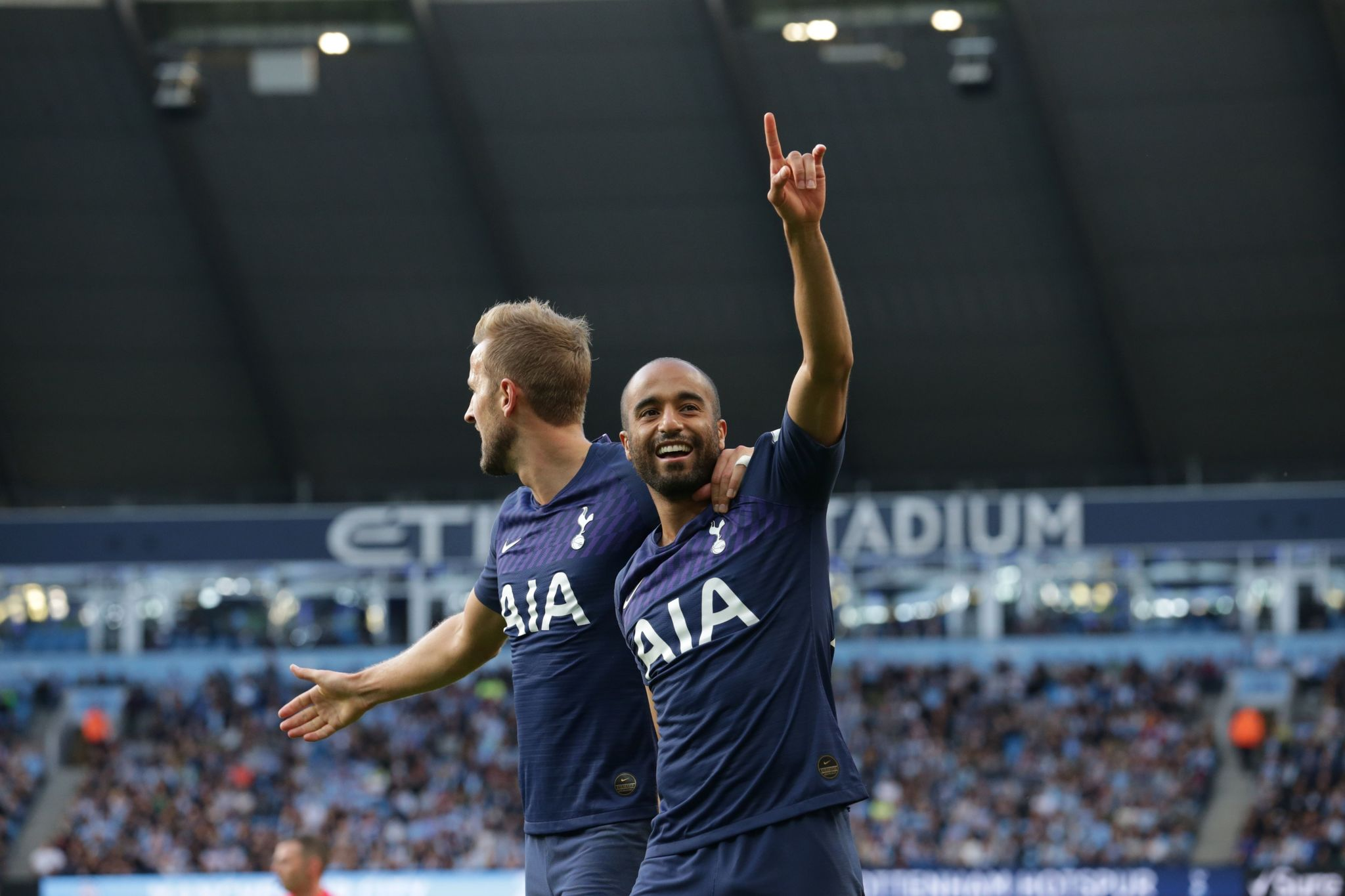 Tottenham Hotspurs Brazilian midfielder <HIT>Lucas</HIT><HIT>Moura</HIT> (R) celebrates scoring his teams second goal during the English Premier League football match between Manchester City and Tottenham Hotspur at the Etihad Stadium in Manchester, north west England, on August 17, 2019. (Photo by Lindsey Parnaby / AFP) / RESTRICTED TO EDITORIAL USE. No use with unauthorized audio, video, data, fixture lists, club/league logos or live services. Online in-match use limited to 120 images. An additional 40 images may be used in extra time. No video emulation. Social media in-match use limited to 120 images. An additional 40 images may be used in extra time. No use in betting publications, games or single club/league/player publications. /