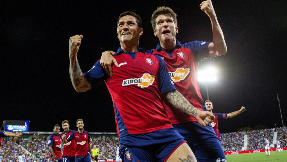 Chimy Ávila celebrando el gol de la victoria en Leganés.