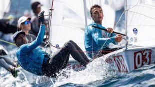 Xammar y Rodríguez, en el Mundial de 470 en Enoshima.