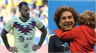 Emanuel Aguilera y Guillermo Ochoa, jugadores del América.