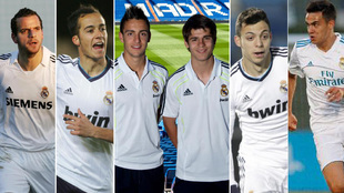 Soldado, Lucas, Joselu, Morata, Óscar Plano y Reguilón, en su etapa...