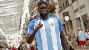 N'Diaye durante su presentación como jugador del Málaga.