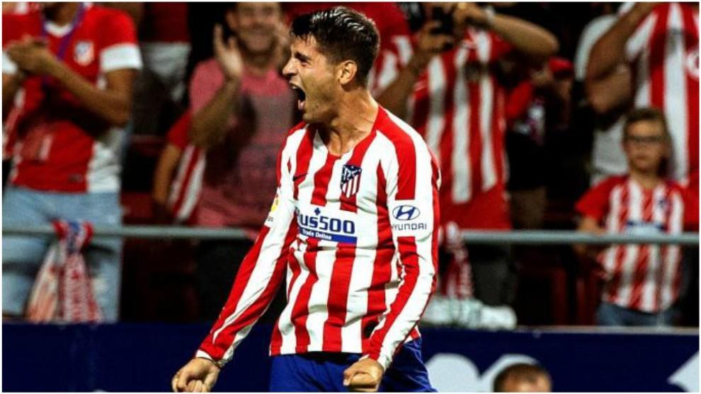 Morata celebra su gol contra el Getafe