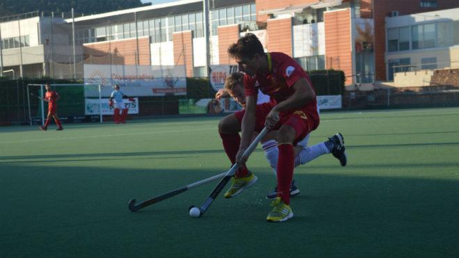 La selección española, durante un encuentro