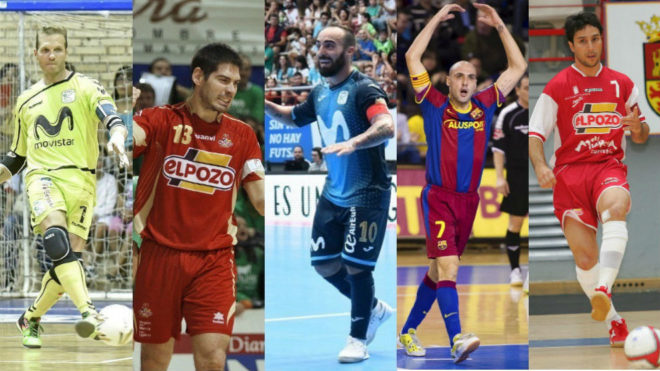 Luis Amado, Kike Boned, Ricardinho, Javi Rodríguez y Paulo Roberto.