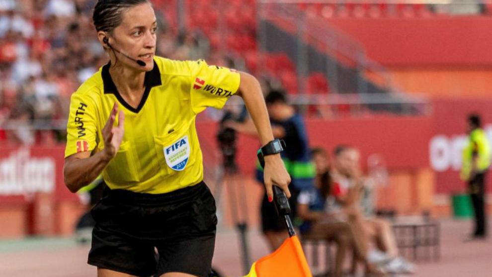 Guadalupe Porras en el partido entre el Mallorca y el Eibar.