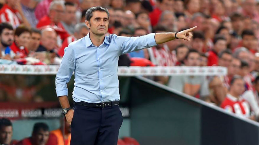 Ernesto Valverde during the defeat to Athletic Club last Friday.