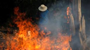 Gente trata de ayudar a sofocar el fuego en la Amazonia