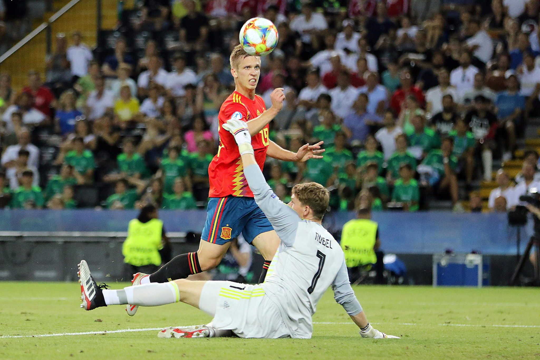 Dani Olmo scoring in the European Under-21 Championship final against...