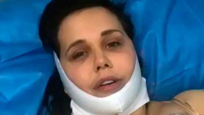 Miriam Sánchez tras pasar por el quirófano.