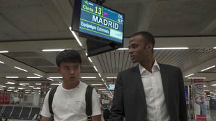 Takefusa Kubo upon his arrival at Palma de Mallorca Airport.
