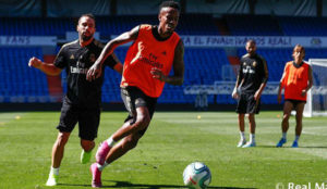 Eder Militao and Dani Carvajal during Real Madrid's training session...