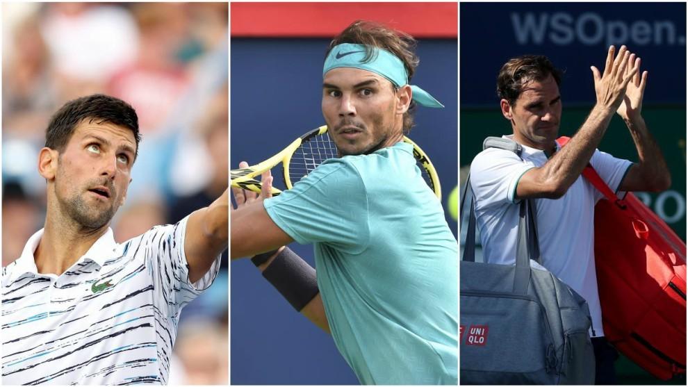 Djokovic, Nadal y Federer, en acción