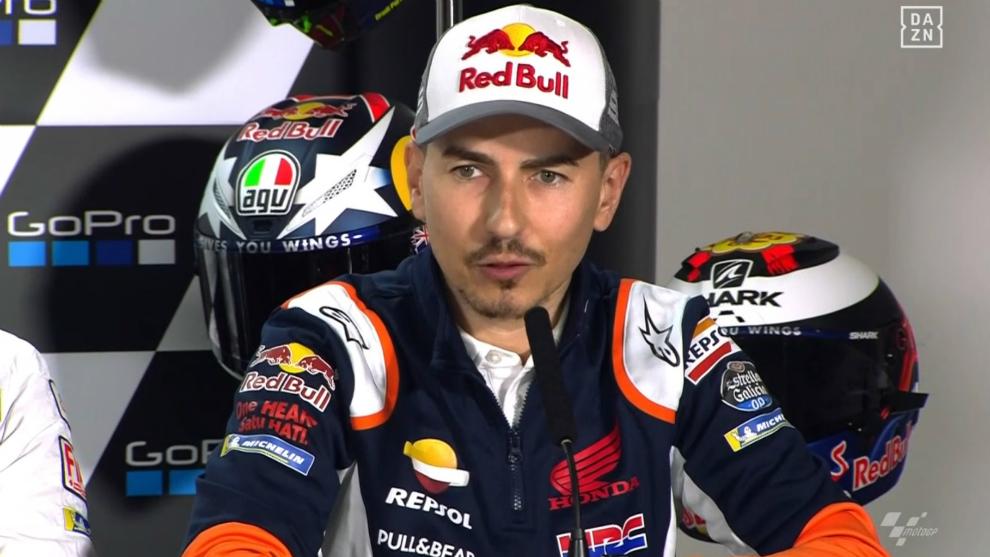 Jorge Lorenzo, en la rueda de prensa del GP de Gran Bretaña celebrada...