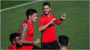 Los jugadores del Atlético en el entrenamiento de esta tarde