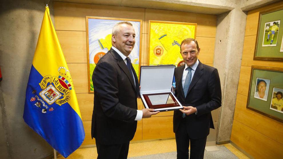 Las Palmas president Miguel Angel Ramirez and Emilio Butragueno at the...