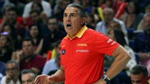 El seleccionador Sergio Scariolo durante el España vs República...