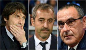 Conte (50), Giampaolo (52) y Sarri (60).