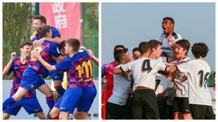 Los futbolistas de Barcelona y Valencia celebran uno de los goles de...
