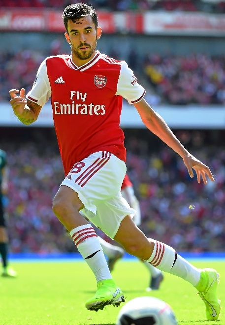 London (United Kingdom), 17/08/2019.- Arsenals Dani Cabellos in action during the English Premier League soccer match between Arsenal and Burnley at the Emirates Stadium in London, Britain, 17 August 2019. (Reino Unido, Londres) EFE/EPA/ANDY RAIN EDITORIAL USE ONLY. No use with unauthorized audio, video, data, fixture lists, club/league logos or live services. Online in-match use limited to 120 images, no video emulation. No use in betting, games or single club/league/player publications