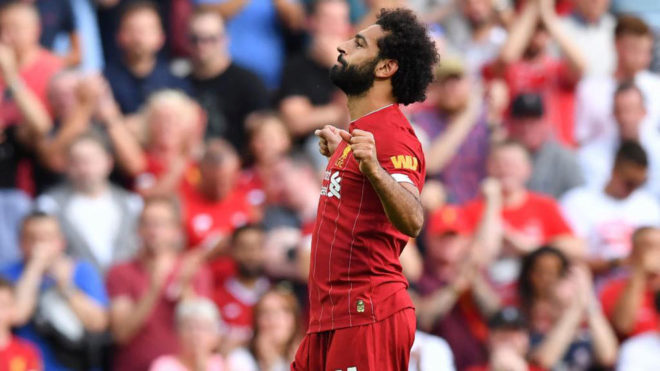 Salah celebra uno de sus goles al Arsenal.