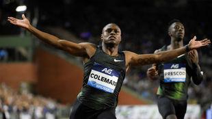 Coleman, durante una carrera