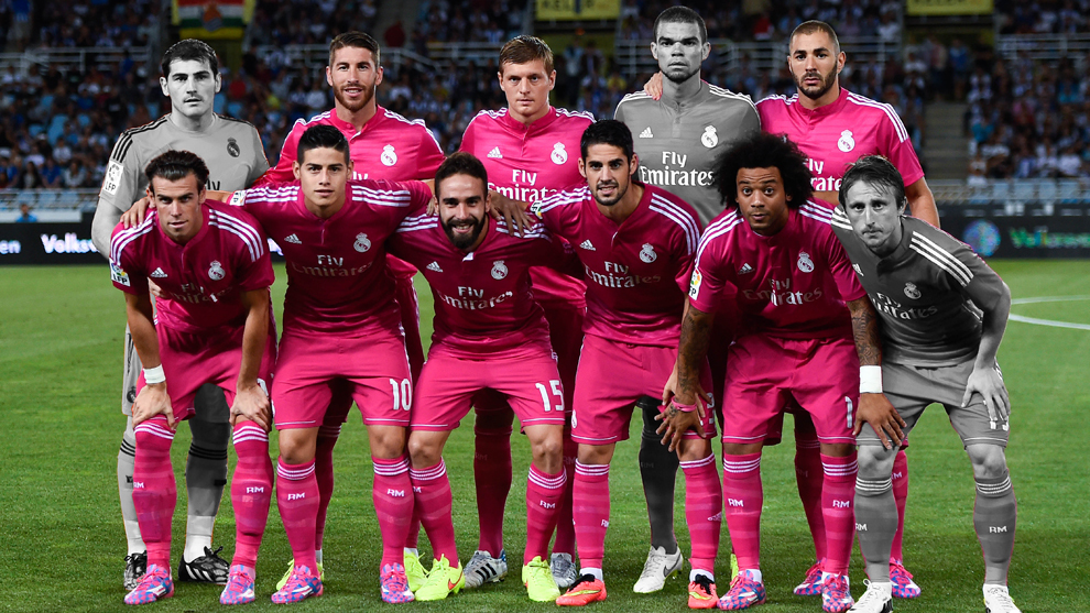 Real Madrid's starting eleven at Anoeta in August 2014.
