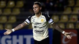 Fabián Bordagaray celebrando el gol de los Dorados.
