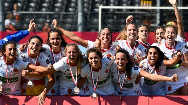 La selección española celebra el bronce en el Europeo